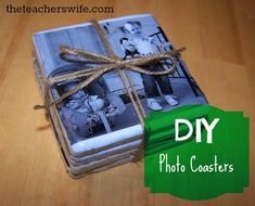 DIY Photo Coasters.  These photo coasters make for a great gift idea!