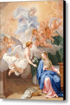 Global Gallery The Annunciation by Giovanni Odazzi Framed Painting Print Size: Blessed Mother Mary, Blessed Virgin Mary, Catholic Art, Religious Art, Religion, Mama Mary, Mary And Jesus, Holy Mary, Madonna And Child
