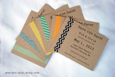 Items similar to Custom Eclectic Washi Tape Invitation - Save the Date - Birthday or Engagement Party - Wedding - Thank You - Thanksgiving - Christmas Card on Etsy Diy Birthday, Birthday Cards, Washi Tape Cards, Masking Tape, Pen Pal Letters, Karten Diy, Wedding Crafts, Party Wedding, Wedding Decor