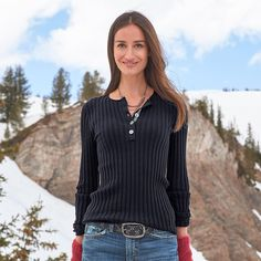 """LIVING LEGEND HENLEY--An easy-to-love, long-sleeve version of our favorite ribbed henley in a flattering, curve-loving knit with contrast velvet ribbon trim and button stitching. Organic cotton/nylon/spandex. Machine wash. Imported. Exclusive. Sizes XS (2), S (4 to 6), M (8 to 10), L (12 to 14), XL (16). Approx. 25""""L."""