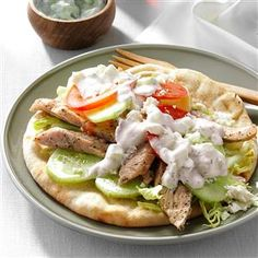 Turkey Gyros Recipe -Greek seasoning, feta cheese and dill-cucumber sauce give this gyro an authentic taste. It was my family's introduction to how really good pita bread can be. Instead of feta cheese, we'll sprinkle on cheddar or Monterey Jack if we have it. —Donna Garvin, Glens Falls, New York