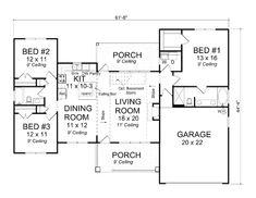 Traditional Style House Plan - 3 Beds 2 Baths 1477 Sq/Ft Plan #513-17 Main Floor Plan - Houseplans.com
