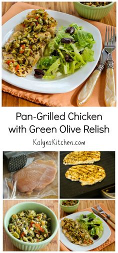 I love this Pan-Grilled Chicken with Green Olive Relish!  You can also cook it outside on the grill if you prefer. #LowCarb #Paleo #GlutenFree [from KalynsKitchen.com]