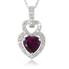 $14.99 - 1.85 Carat Mystic Violet and Diamond Accent Heart Pendant in Sterling Silver