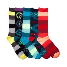 Mens Aztec Stripe Crew Socks 5 Pack