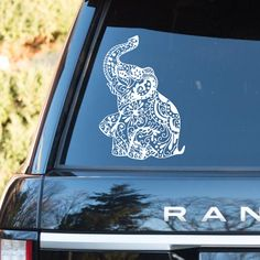 Elephant Car window Toilet washroom rest room Wall Decal Floral Design Decal Glass car decal