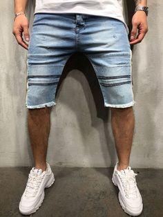 57cffecb820359 Distressed Raw Hem Denim Shorts – GentlemanToBe Streetwear Fashion