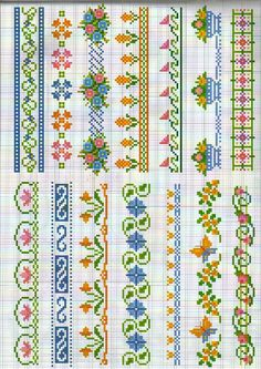 Resultat d'imatges de cross stitch flower borders