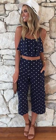 #Summer #Outfits / Blue Dotted Crop Top + Blue Dotted Crop Pants