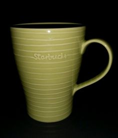 Designed by Design House Stockholm. STARBUCKS 2009 GREEN RIBBED COFFEE MUG 20oz. Perfect for coffee, tea, latte, cocoa or add to your collection for display. Cup has ribbed green exterior and smooth green interior with r aised logo.