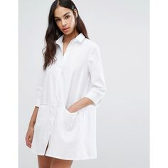 Missguided Pocket Shirt Dress ($40) ❤ liked on Polyvore featuring dresses, white, white shirt dresses, shirt dress, white dress, long white shirt dress and pocket dress