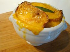 English Onion Soup with Sage and Cheddar.