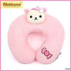 KoRilakkuma before sleeping face new Neck PILLOW Pink San-X kawaii cute travel | eBay