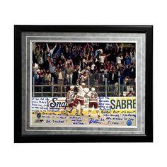 "Steiner Sports New York Rangers Stephane Matteau 1994 Game 7 Game-Winning Goal Commentary Facsimile 16"" x 20"" Framed Metallic Story Photo, Multicolor"