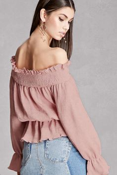 A woven top featuring allover fine accordion pleats, a ruffled off-the-shoulder neckline, long trumpet sleeves, and a peplum hem. This is an independent brand and not a Forever 21 branded item.