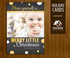 Modern Dot Christmas / Holiday Card Digital by GeekHouseStudios