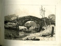 Near Totnes - Landscape, with a stone bridge in foreground and two cows standing in the river; figure of an angler seen through the arch of the bridge in the distance at right; cottage with thatched roof in background at left; from part No.2 of the series.  1 June 1816  Soft-ground etching