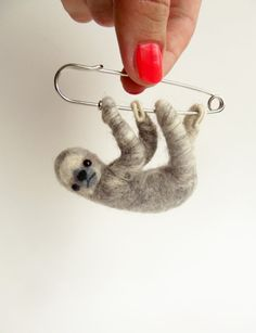Hanging Sloth in Light Grey, Felted Brooch, Animal Jewelry