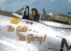"""P-47D """"NO GUTS – NO GLORY"""" 43-6935 of 82nd FS / 78th FG. Capt. Benjamin I. Mayo, in Duxford UK, June 1944."""