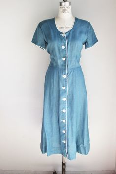 Vintage 1950s Shirtwaist Dress, Blue Linen Young Traditions Lord And Taylor Sports And Country
