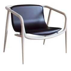 Dark Leather And Wood Lounge Chair  Contemporary, Leather, Wood, Lounge Chair by Artemest