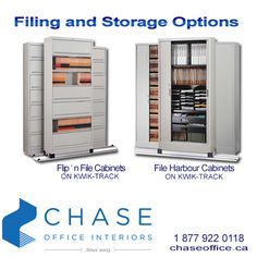 To increase storage capacity in limited space, Kwik-Track allows you to place stationary shelving against the wall with either one or two rows of laterally moving units on tracks. For more information, please call 1 877 922 0118