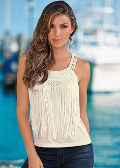 IVORY Crochet front tank top from VENUS available in sizes S-XL