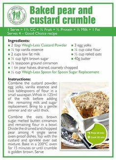 Weigh-Less Good Choice Recipe Custard Recipes, Keto Recipes, Healthy Recipes, Healthy Deserts, Healthy Snacks, Healthy Eating, Baked Pears, Healthy Meal Prep, Eating Plans