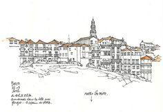 Porto126 by gerard michel, via Flickr Logo Sketches, Drawing Sketches, Pencil Drawings, Perspective Sketch, City Drawing, Building Illustration, Building Sketch, Sketches Tutorial, Urban Sketchers