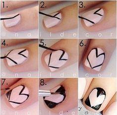 Easy Heart Nail Art Tutorial #diy