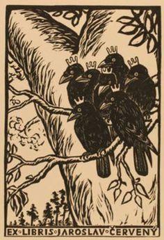 ≡ Bookplate Estate ≡ vintage ex libris labels︱artful book plates - by Michael Florian for Jaroslav Cervany, 1952 Ex Libris, Illustration Art, Illustrations, Crows Ravens, Arte Popular, Art Graphique, Wood Engraving, Woodblock Print, Printmaking