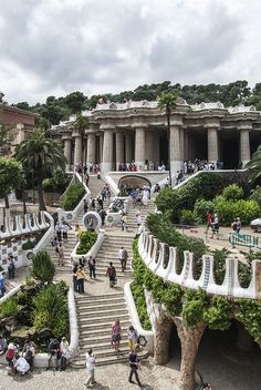 Gaudi steps in Park Guell, Barcelona, Spain (by FrecKles )   ..rh