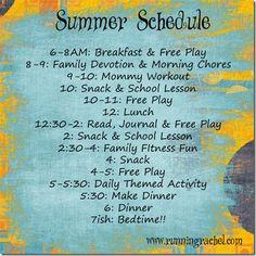 Family Summer Schedule