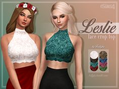 Trillyke - Leslie Lace Crop Top - The Sims 4 Catalog Maxis, Sims Four, Sims 4 Mm, Mods Sims, Free Clothes, Clothes For Women, Sims 4 Dresses, Sims4 Clothes, Sims 4 Toddler