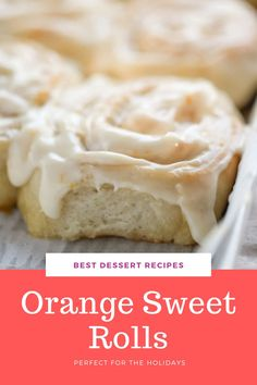 These rolls are sweet, light, chewy, fluffy, and simple to make! Orange Rolls will hit the spot any day of the week, try them for a sweet breakfast at the holidays or as a snack or dessert! #christmas #holidays #breakfast #orange #recipe Best Christmas Desserts, Winter Desserts, Fun Desserts, Christmas Holidays, Best Dessert Recipes, Brunch Recipes, Breakfast Recipes, Orange Sweet Rolls, Orange Recipes