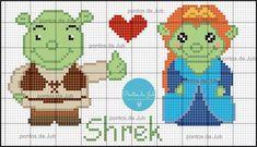 Shrek e Fiona Cross Stitching, Cross Stitch Embroidery, Cross Stitch Patterns, Hama Disney, Cross Stitch Boards, Plastic Canvas Tissue Boxes, Perler Patterns, Beaded Animals, Shrek