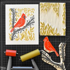 Hand-carved cardinal block print by Andrea Lauren - I am officially IN LOVE with her work.