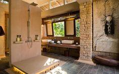 &Beyond Pashan Garh Wilderness Lodge, Panna National Park, Madhya Pradesh, India - Exclusive Collection Safari Bathroom, Lodge Bathroom, Slate Roof, Madhya Pradesh, Marrakesh, Wilderness, National Parks, India, Modern