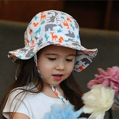 679d840c Baby Toddler Kids Sun Hat with Chin Strap, Drawstring Adjust Head Size,