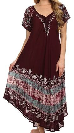 Sakkas 14403New - Sara Batik CaftanTank Dress / Cover Up - Black / Red - One Size Regular at Amazon Women's Clothing store: Another dress option for women. This has more patterns on here and darker colors. Maybe for Jason's mother?