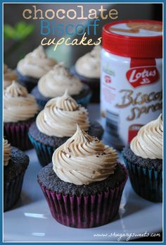 Chocolate Cupcakes with Biscoff Buttercream @shugarysweets #biscoff