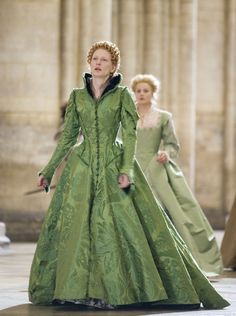 Elizabeth, The Golden Age, 2007. While 90% of the film is historically inaccurate, I watch it for the 'fabric porn' element -- i.e., the over-the-top costumes and embellished fabrics. Great to watch as an epic, just ignore the plot. :)