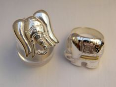 Elephant ring in silver and silver and gold Fox Ring, Ring Bear, Elephant Ring, 925 Silver, Sterling Silver, Animal Rings, Cufflinks, Rings For Men, Unique Jewelry
