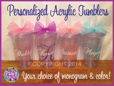 Personalized MONOGRAMMED ACRYLIC TUMBLERS with large initial and name by Pam's Polka Dots, $10.00