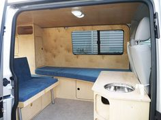bed/sofa and also sink turning into outside shower Vw Camper Bus, Volkswagen Camping Car, Transporteur Volkswagen, Vw Camping, Slide In Camper, Transit Camper, Minivan Camping, Mini Camper, Campers