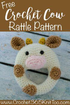 Oh my goodness! Adorable! This crochet cow rattle pattern is so cute! #crochetrattle #crochetcowrattle #crochetcow