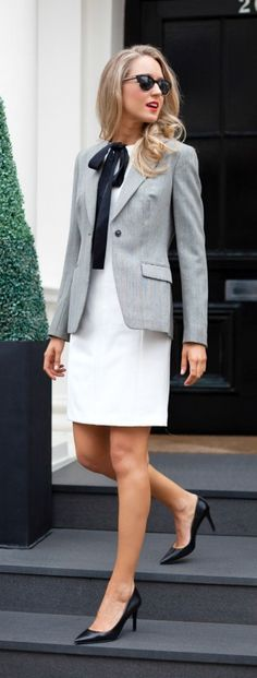 white sheath dress, black silk necktie, + houndstooth jacket | @brooksbrothers