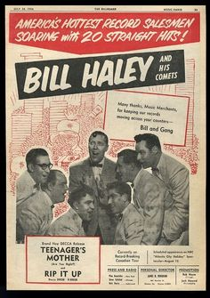1956 Bill Haley and his Comets photo Rip It Up record release BIG trade ad