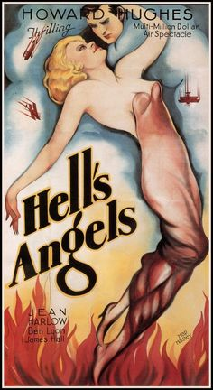 "1930 HELL'S ANGELS AVIATION MOVIE POSTER JEAN HARLOW HOWARD HUGHES  11""x20"" #786"