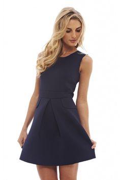 AX Paris Women's Scuba Pleated Navy (Blue) Dress - Online Exclusive, Size: 8;6